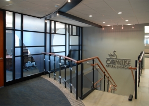 Partition walls that conceal boardrooms and Carmeuse North American Headquarters executive areas bestow a unique pattern by commingling clear glass with translucent film.